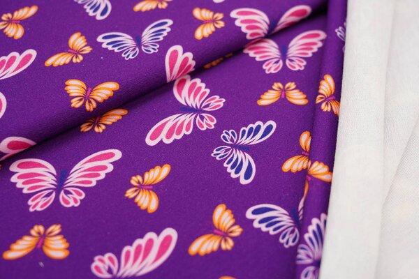Baumwoll-Sweat Digitaldruck bunte Schmetterlinge auf lila