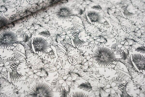 Baumwollstoff Dschungel Elefanten mit Blumen und Blättern weiß / schwarz