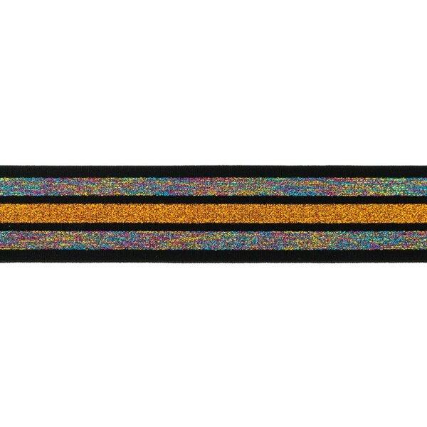 Schwarzes Gummiband mit 3 Glitzer Streifen regenbogen-multi orange 40 mm breit