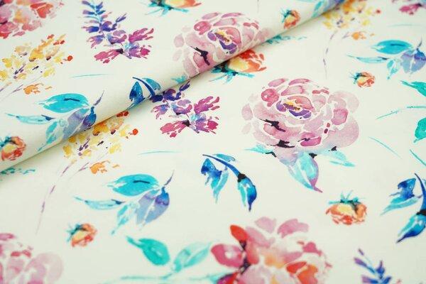 Baumwoll-Jersey Digitaldruck bunte Aquarell Blumen auf off white