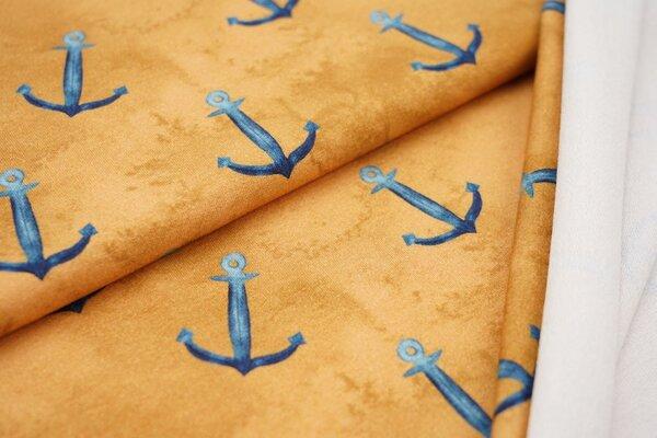 Baumwoll-Sweat Digitaldruck maritime blaue Anker auf senf ocker