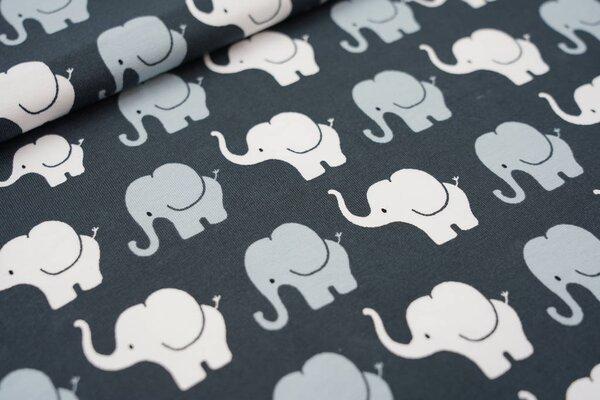 Baumwoll-Jersey Elefanten Parade dunkelgrau / grau / weiß