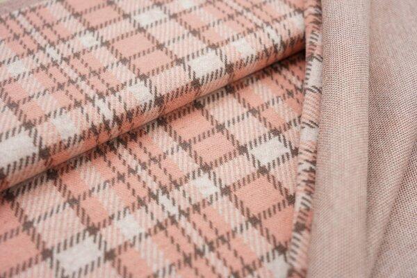 Jacquard-Jersey Karo Muster off white / lachs / taupe braun