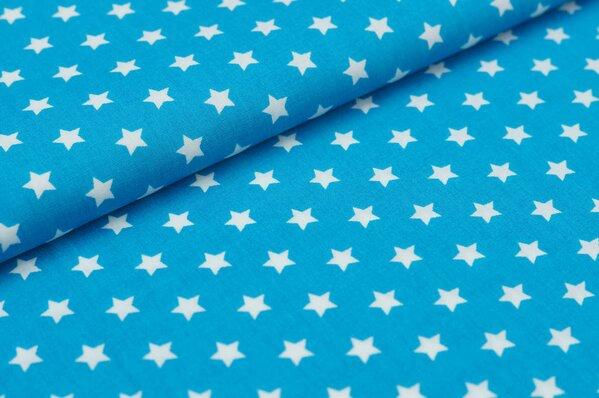 Baumwollstoff Baumwolle kleine Sterne türkis / weiß