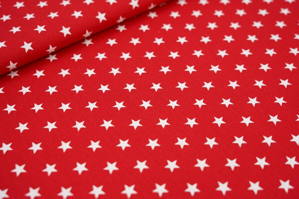 Baumwollstoff Baumwolle rot mit weißen Sternen
