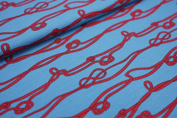 Baumwoll-Jersey Taue Seile mit Knoten blau / rot / schwarz maritim