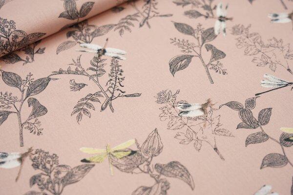 Baumwolle mit Libellen und Zweigen auf pastell lachs