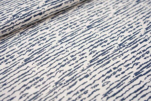 Musselin Stoff Double Gauze Linien-Muster Striche weiß / jeansblau