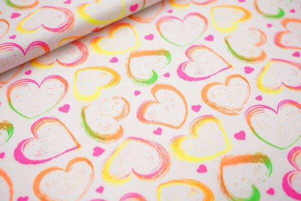 Baumwoll-Jersey bunte Neon Herzen pink orange grün gelb auf weiß