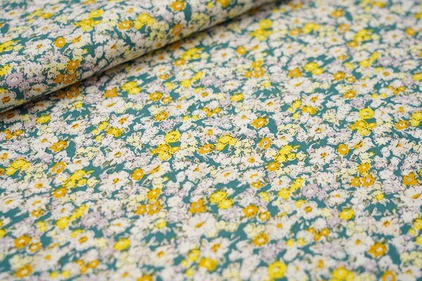 Baumwollstoff mit Blumenmeer petrol / weiß / senf / gelb / hell lila