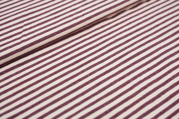 Baumwoll Soft-Jersey schmale Streifen Ringel rotbraun melange / beige