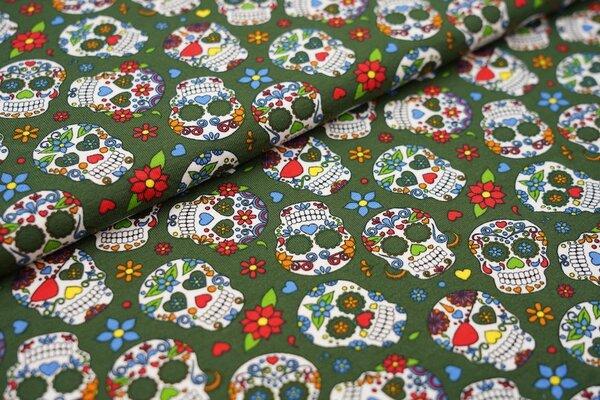 Baumwoll-Jersey mit Totenköpfen Totenkopf Blumen Herzen in bunt auf grün
