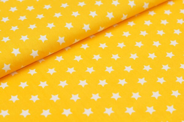 Baumwollstoff Baumwolle kleine Sterne gelb / weiß