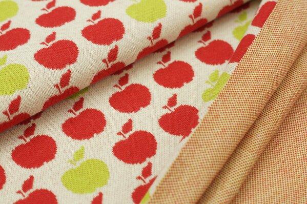 Jacquard-Sweat Ben rote und limetten grüne Äpfel Apfel auf off white