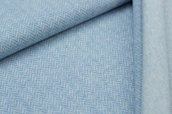Kuschel Jacquard-Sweat Moritz Fischgrätenmuster pastell jeansblau off white