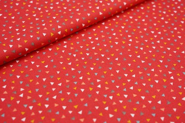 Baumwollstoff kleine bunte Dreiecke auf rot