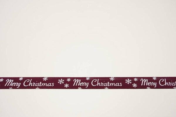 Ripsband Weihnachten Merry Christmas Eissterne auf bordeaux rot 15 mm Dekoband