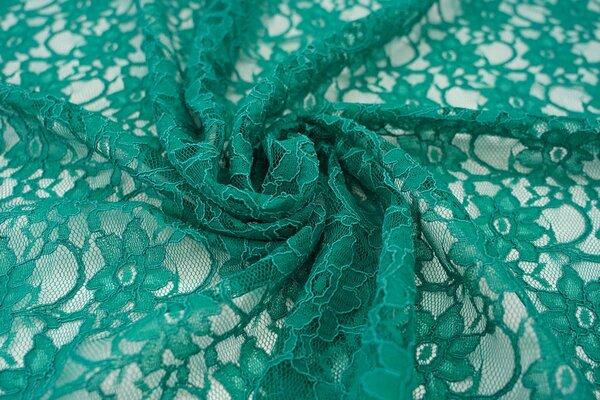 Elastische Spitze mit Blumen-Muster smaragdgrün