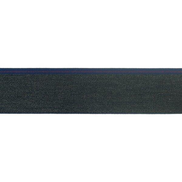 Breites Jeans Gummiband dunkelblau meliert mit dunkelblauem / rotem Rand