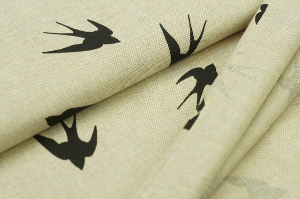 Dekostoff in Leinenoptik natur mit Schwalben Vögel Vogel