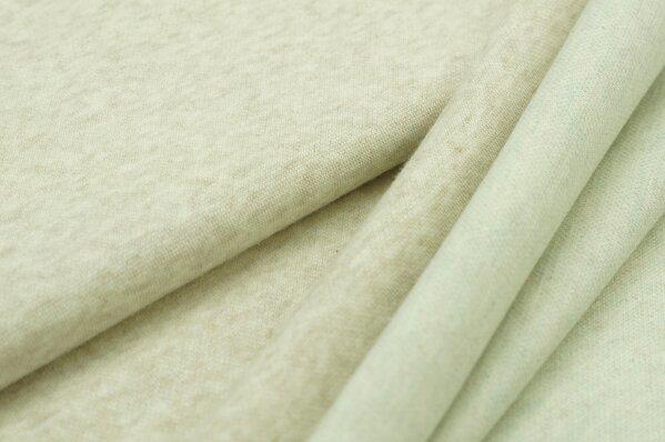 Jacquard-Sweat Mia uni pastell beige Melange / Rückseite mint und off white