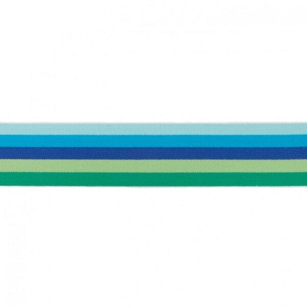 Breites Gummiband bunte Streifen 5-farbig mint aqua blau dunkelblau grün 40 mm