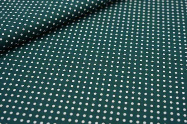 Baumwollstoff Baumwolle kleine Punkte waldgrün / weiß