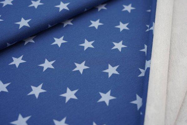 Baumwoll-Sweat große Sterne taupe blau / hell taupe blau
