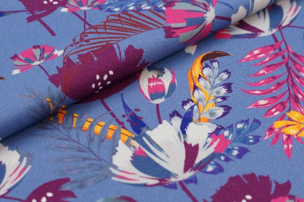 Baumwoll-Jersey Digitaldruck bunte Blumen Pflanzen auf pastell lila