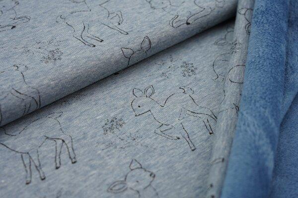 Kuscheliger Happy Fleece Alpenfleece kleine Rehe auf jeansblau meliert melange Kuschelsweat