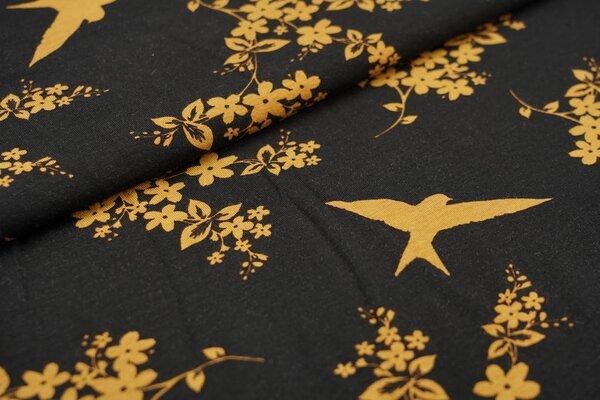 Viskose-Jersey Blumen und Schwalben schwarz / senf Vogel Vögel