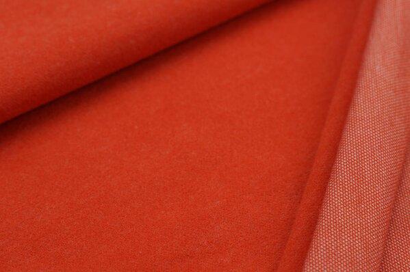 Kuschel Jacquard-Sweat Max Uni rostorange mit off white