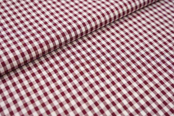Baumwollstoff Baumwolle Karomuster klein kariert bordeaux rot / weiß