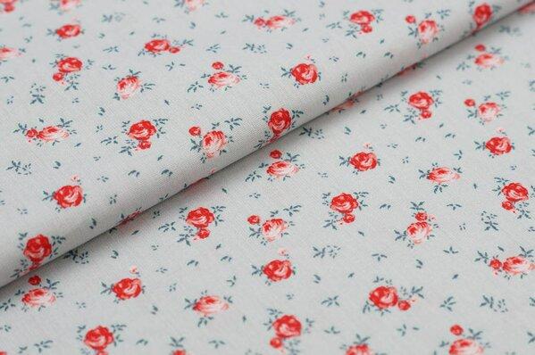 Baumwollstoff Baumwolle kleine Rosen Blumen auf hellgrau