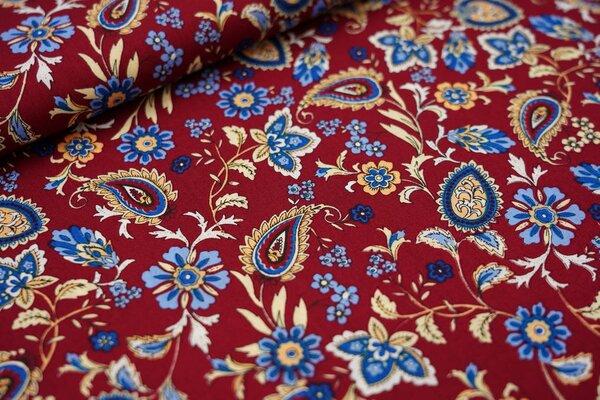 Baumwollstoff Blumen-Paisley-Muster rotbraun / blau / beige / weiß / orange