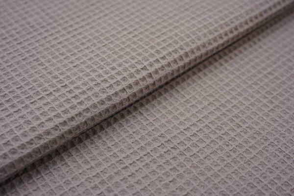 Waffelpiqué Waffelstoff uni schlamm grau Baumwollstoff mit Waffelmuster