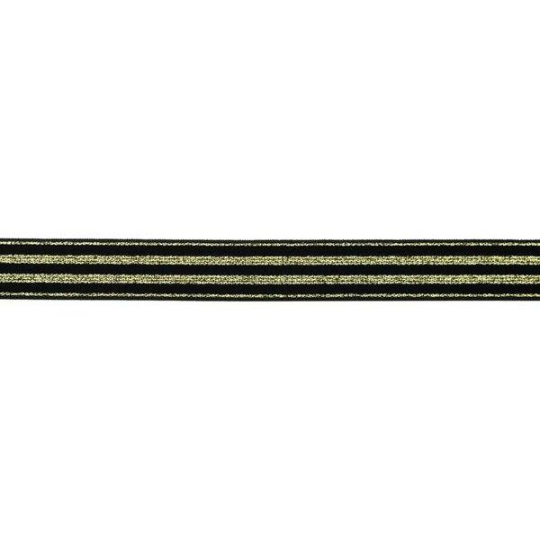 Schmales Gummiband mit 4 goldenen Glitzer Streifen auf schwarz 20 mm