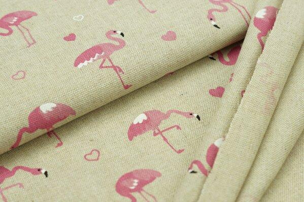 Dekostoff Leinenoptik Flamingos Herzen natur / rosa