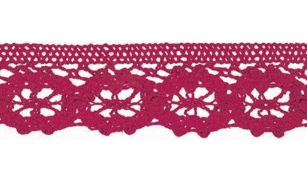 Baumwolle Spitzenborte Häkelborte uni fuchsia pink 30 mm breit Klöppelspitze