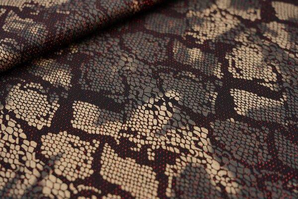 Elastischer Glitzer Jersey Modestoff Schlangenhaut schwarz / gold / rot