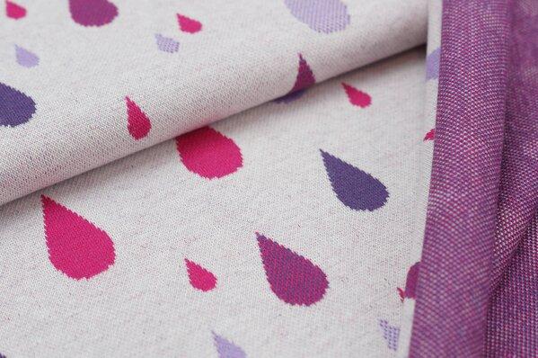 Jacquard-Sweat Ben bunte Tropfen amarant pink / lila / hell lila auf off white
