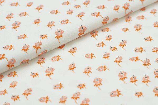 Baumwoll-Jersey Digitaldruck kleines Blumen-Muster off white / koralle orange