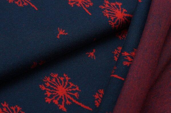Jacquard-Sweat Ben rotes Pusteblumen Muster auf dunkelbau