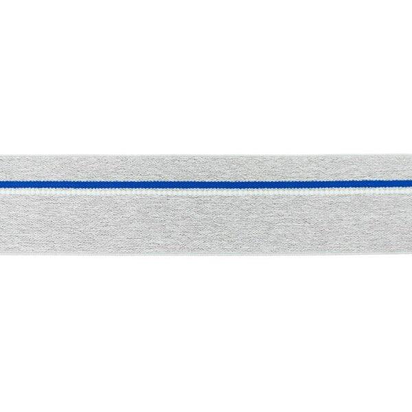 Breites Gummiband hellgrau meliert mit blauem Streifen und weißen Punkten