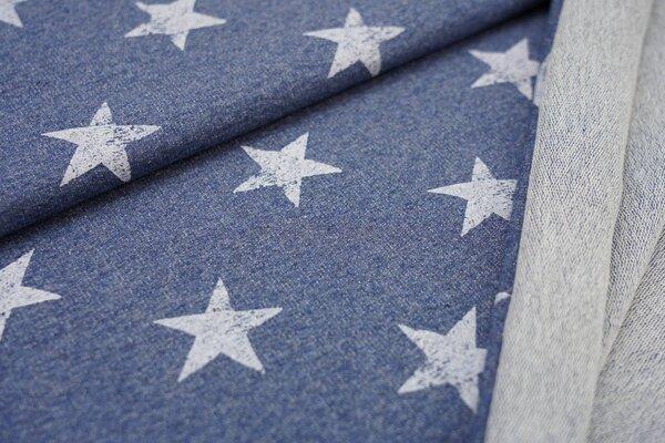 Baumwoll-Sweat weiße Sterne auf jeansblau meliert maritim