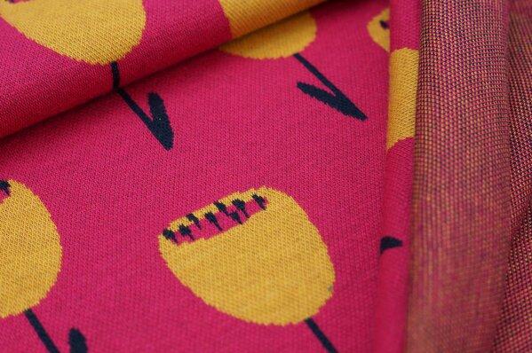 Jacquard-Sweat Ben mit großen Tulpen Blumen amarant pink / navy blau / senf
