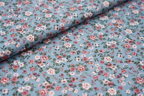 Baumwolle Blumen Rosen auf altblau