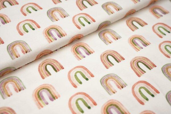 Digitaldruck Baumwoll-Jersey Aquarell mit Regenbogen in lila orange grün lachs auf off white creme