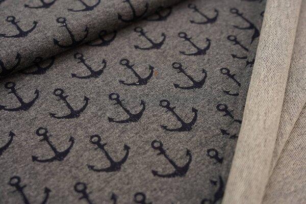Baumwoll-Sweat navy dunkelblaue Anker auf mittelgrau meliert maritim