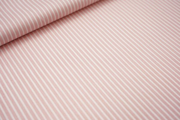 Baumwollstoff schmale Streifen lachs / weiß Baumwolle